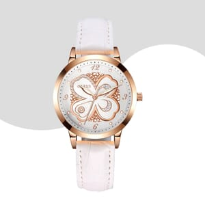 Ladies watch white leather strap